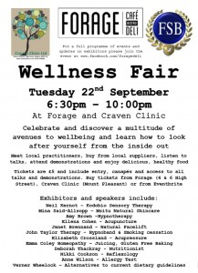 Wellness Fair, Forage Deli, Skipton.